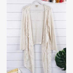 Lucky Brand • Open Knit Asymmetrical Cardigan